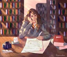 Hermione Studying by daisosunshine