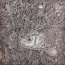 abstract  fish drawing by NikitaGrabovskiy