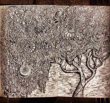 Zentangle pattern tree drawing by NikitaGrabovskiy