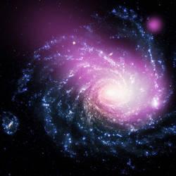 Dwarf Galaxy Caught Ramming Into a Large Spiral by Vikutta-Perex