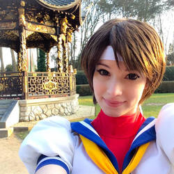 Sakura - Street Fighter cosplay selfie~ by EnjiNight