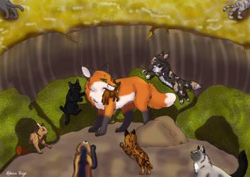 Fox fight WindClan by Wolfskull1996