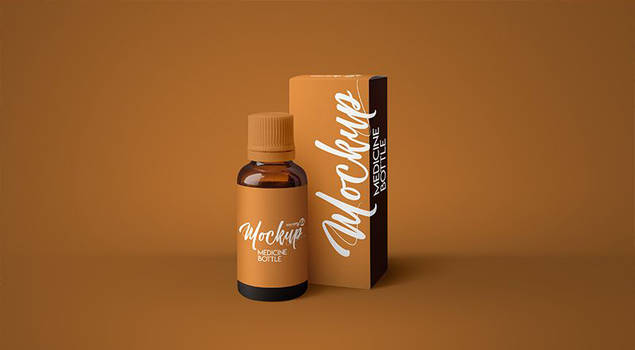 Free Amber Medicine Bottle Mockup by freemockups