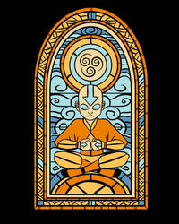 Stained Glass Aang by Fishmas