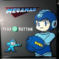Framed Megaman Perler by ZanderYurami