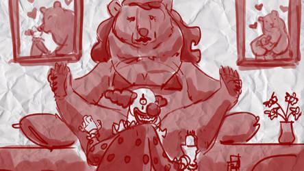 Clown Shaves Bear by bobmeatbag