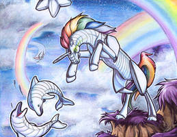 Robot Unicorn Attack paints by Bee-chan