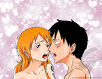 One piece - LuffyxNami Passionate Kiss by gerardosteel