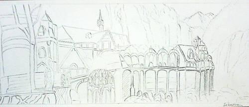 LOTR Rivendell - Fondcombe drawing Fan Art by Shadowslabs