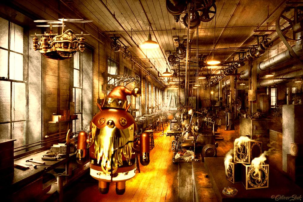 Steampunk Santa's Android Workshop! by OliverInk