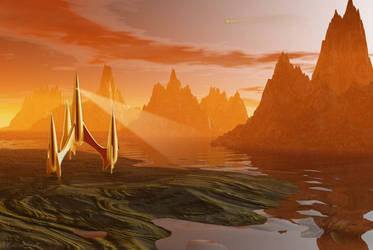 First Spaceship On Titan by OliverInk