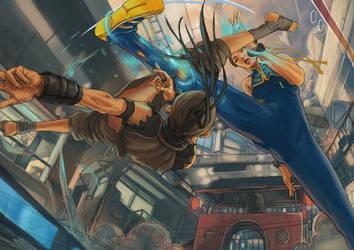 Chun Li vs ibuki by RaiaCircle