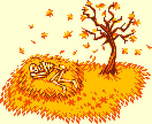 Autumn with skeleton by P-O-K-E-T