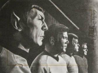 Star Trek Spock Kirk McCoy + Scotty Sketch Card by avintagedreamer