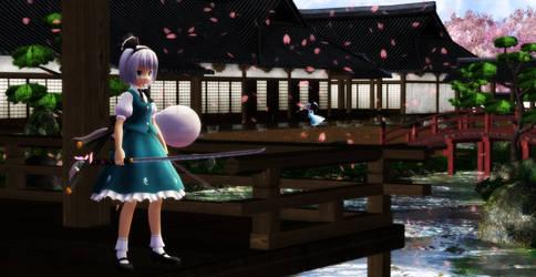 [Touhou MMD] Youmu and Yuyuko at Hakugyokurou by Paradox-arts