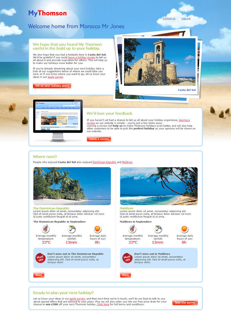 Welcome Home page for Thomson by danjak