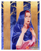 Watercolor: Lady in the woods by sionra