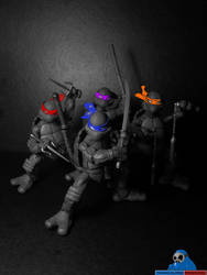 Turtles Forever (Black and White version) by jokerjester-campos