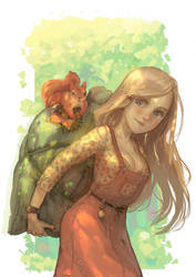 girl with a bag of acorns by Mireys