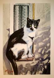 watercolor cat by lukuluku666