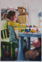 Amelia maluje (Amelia is painting). by lukuluku666