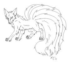 Free Kitsune lines sixtails by The-Clockwork-Crow
