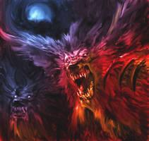 Werewolf and girl SMALL by Gabezilla2015