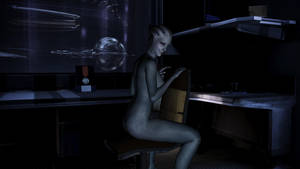 Liara T'Soni on chair by Hallucinogenmushroom