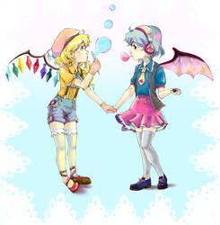 Bubbles and gum. by strobolights