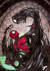 Spiderman VS Venom Symbiot by Zuleta