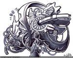 Bio-mechanical Doodle 1 by Bomu