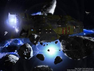 Qwaar-Jet in Asteroid Field by Enterprise-E