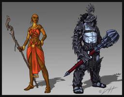 Oldworld Sorceress and Vampire Gladiator by Trollfeetwalker