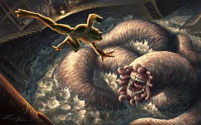 Super-frog Battles Worm by Trollfeetwalker