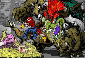 Mario and Bowser by deathborn88