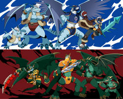 Comm: Covedramon and Galdramon Evolution Lines by seiryuuden