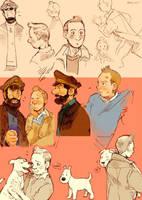 Tintin doodles by Barukurii