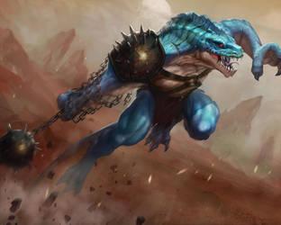 Lizardman Barbarian by Sycra