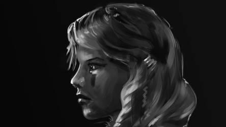BW profile portrait sketch by tr4ze