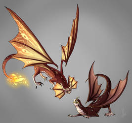 Fire_Dragon_owls by yuramec