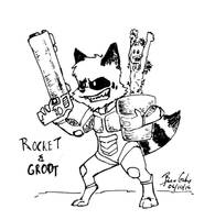 Inktober 2014 - #06 - Rocket and Groot by pro-mole