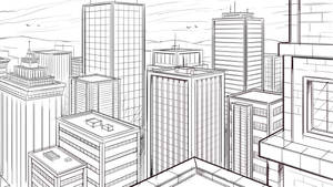 How to Draw a City in Two Point Perspective Sketch by robertmarzullo