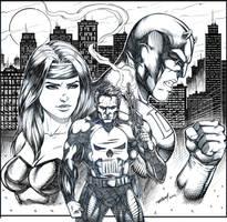 Daredevil Punisher Elektra Pinup by robertmarzullo