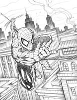 Spiderman Swinging Over the City by robertmarzullo