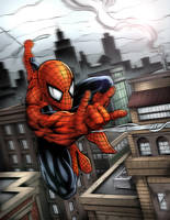 Spiderman Swinging Over the City Colors by RAM by robertmarzullo