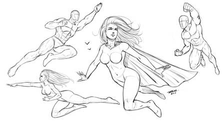 Flying Poses Comic Style by robertmarzullo