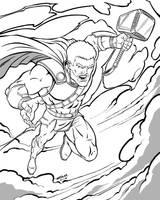 Thor Ragnarok Line Art by robertmarzullo