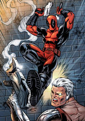 Deadpool Vs Cable - Colored Version by robertmarzullo