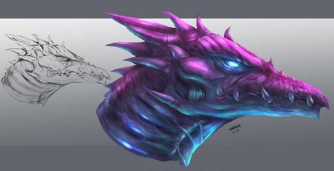 Dragon Head Painting by robertmarzullo