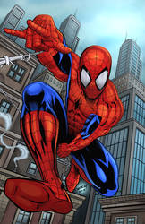Spidey in Action - Colored Version by robertmarzullo